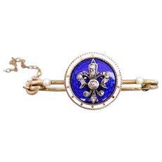 Antique Fleur De Lis Rose-cut Diamond, Pearl & Royal Blue & White Enamel Safety Pin Brooch