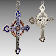 Victorian Sterling Silver Champleve Enamel Cross Pendant Engraved 'Nov 20 AD 1866'