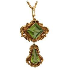 Victorian Art Nouveau 14K Gold  Peridot Repousse Pendant Brooch