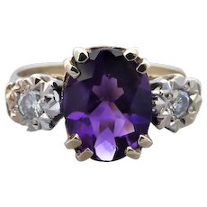 Vintage English Amethyst and Diamond Ring in 9k Yellow Gold