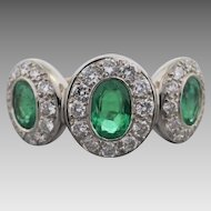 Estate 18K White Gold Emerald and Diamond 3 Cluster Band
