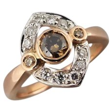 Estate Cognac, Champagne & White Diamond Ring in 18K Rose and White Gold