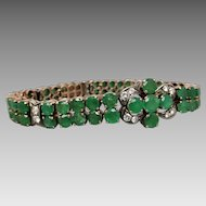 Estate Natural Emerald and Diamond Bracelet