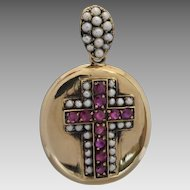 Quality Reproduction Victorian Style Natural Ruby & Seed Pearl 'Mourning' Locket in 9K Gold