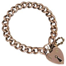 Antique 9K Rose Gold Heart Padlock Bracelet, 41.9 grams