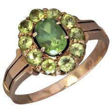 Antique 1910's Russian Demantoid Garnet Cluster Ring