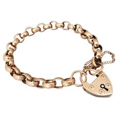 Edwardian 9K Rose Gold Belcher 'Night & Day' Padlock Bracelet