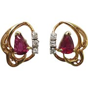 Estate 14K Yellow Gold Ruby and Diamond Filigree Stud Earrings