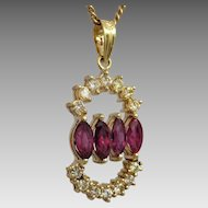 Estate 14K Yellow Gold Natural Ruby and Diamond Pendant