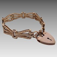 Estate 9k Rose Gold Decorative Scroll Patterned Gate Padlock Bracelet