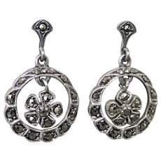 Vintage 1950's-60's Sterling Silver Marcasite Forget-me-not Flower Dangle Earrings