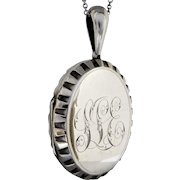 Victorian c1880 Sterling Silver Large Hand-engraved Monogram Locket