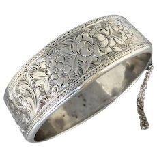 Antique Victorian c1890 Sterling Silver Floral Engraved Bracelet Bangle