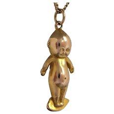 Antique Late Edwardian c1910's Kewpie Doll Charm Pendant in 9K Gold