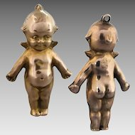 Antique Large 9k Gold Kewpie Doll with Angel Wings Charm Pendant