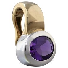 Estate 9K Yellow & White Gold Vivid Purple Amethyst Enhancer Pendant
