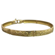 Estate Unisex 18K Yellow Gold Hinged Patterned Link Bracelet
