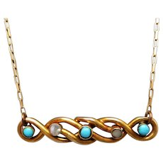 9K Gold Turquoise & Seed Pearl Lovers Knot Conversion Necklace, 14K Chain