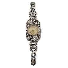 Vintage c1940's-50's Bentley Sterling Silver & Marcasite Cocktail Wrist Watch