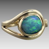 Estate 9K Yellow Gold Asymmetrical Boulder Opal  Ring
