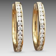 Estate 9k Yellow Gold Fine White Diamond 1.40tcw Channel-set Oval Hoop Earrings