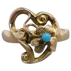 Victorian 9K Gold Witches Heart Turquoise Conversion Ring