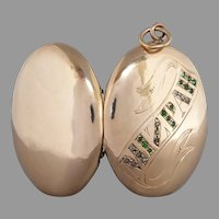 "Victorian 9k Gold Front & Back ""MIZPAH"" Rose Cut Diamond & Green Paste Picture Locket"