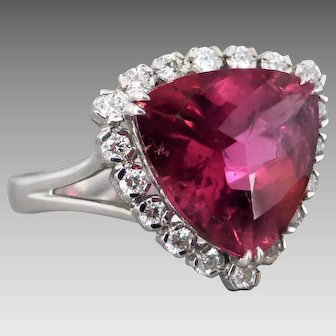 18K White Gold Pink Tourmaline and Diamond Cluster Ring, Designer Signed 'Green G'