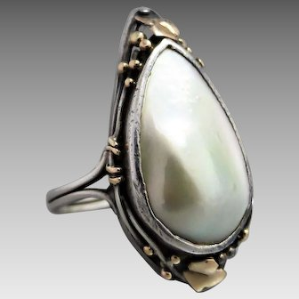 Arts & Crafts Australian Rhoda Wager Sterling Silver Blister Pearl Ring, Signed 'Wager'