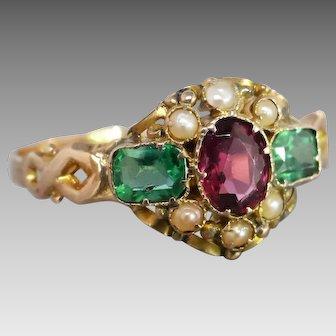 Mid Victorian c1969 Almandine Garnet, Pearl & Green Doublet Ring in 12K Gold