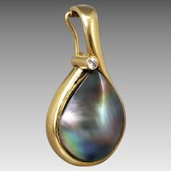 Estate 18K Yellow Gold Lustrous Grey Blue Mabe Pearl & Diamond Enhancer Pendant