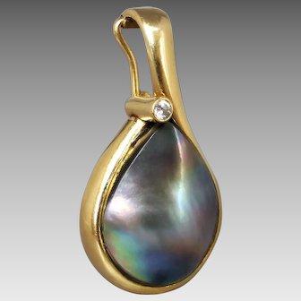 Estate 18K Yellow Gold Lustrous Grey Blue Mabe Pearl & Diamond Enhancer Pendant