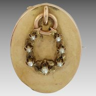 Antique Victorian 15k 15ct Cultured Seed Pearl Wreath Mourning Brooch or Pendant