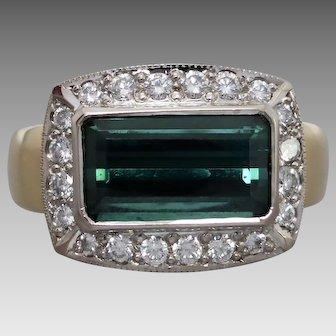 Estate 18K Gold Green Tourmaline & Diamond Cluster Ring