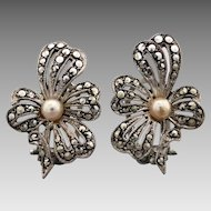 Vintage Sterling Silver Marcasite and Faux Pearl Flower Clip-on Earrings