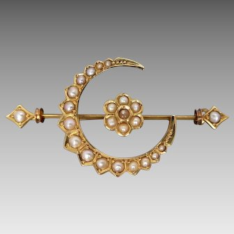 Victorian c1895 15K Gold Seed Pearl Crescent Flower Bar Brooch, Australian Hallmarks