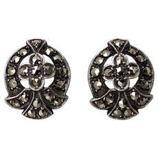 Vintage Sterling Silver Marcasite Stud Screw-back Earrings