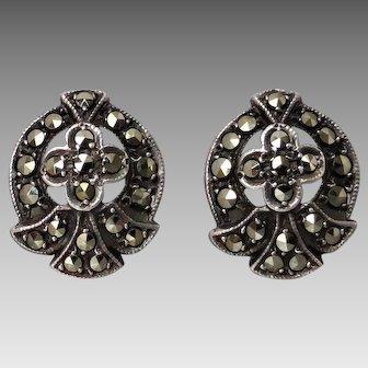 Vintage Sterling Silver Marcasite Stud Screw-back Earrings