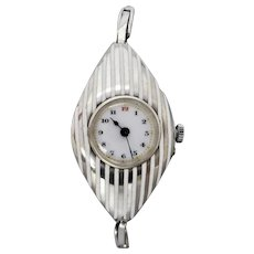 Antique Edwardian c1913 Sterling Silver & White Enamel Ladies Wrist Watch, Serviced