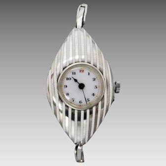 Antique Edwardian c1913 Sterling Silver & White Enamel Ladies Wrist Watch, Serviced
