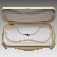 Vintage 1950's Graduated Cultured Akoya Pearl Necklace, S/Silver Marcasite Clasp. Boxed