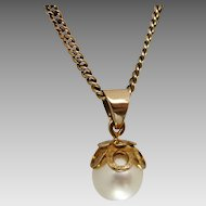 Vintage 9K Gold Single 7.60mm Akoya Pearl Pendant Necklace