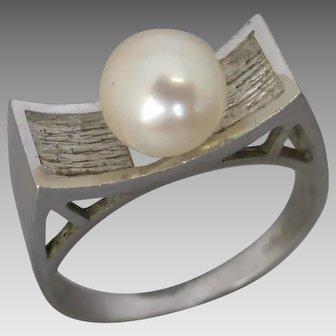 Vintage 1970's Modernist 14K White Gold Akoya Pearl Dress Ring