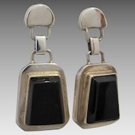 Vintage Mexican Designer Erika Hult de Corral Sterling Silver Obsidian Dangle Earrings