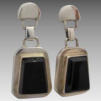 Vintage Mexican Designer Erika Hult de Corral Sterling Silver Obsidian Dangle Earrings
