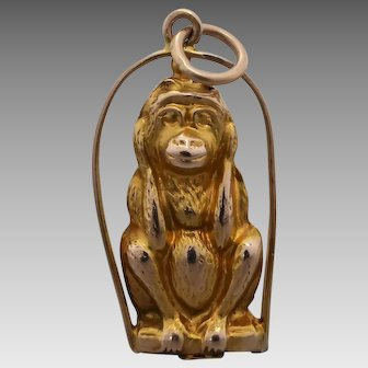 Antique Edwardian 9k Gold 1900's Detailed 'Hear No Evil' Monkey Charm