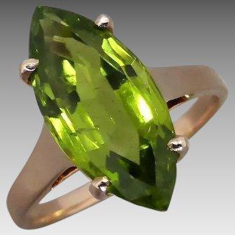 Vintage 14K Rose Gold Handmade Marquise Peridot Ring