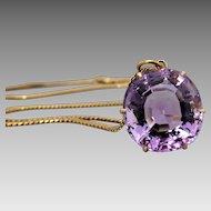 Vintage 18k Yellow Gold Pretty Lavender Amethyst Pendant Necklace