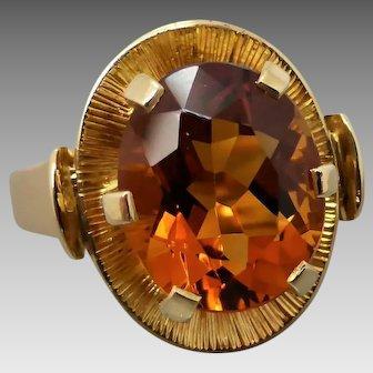 Vintage 18k Yellow Gold Handmade Madeira Citrine Ring