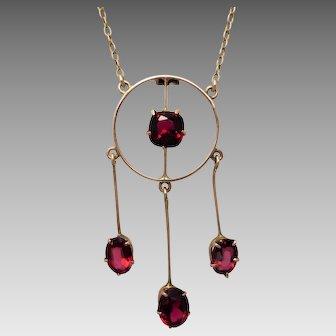 Antique Edwardian c1915 Red Paste & Garnet Top Doublet Lavalier Necklace in 9ct Gold